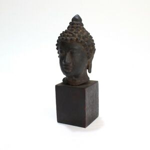 Old Or Antique Estate Thai Or Chinese Bronze Buddha Head Or Bust Br