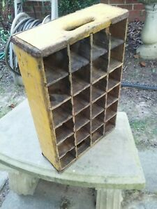 Vintage Coca Cola Wooden Crate Yellow Hecho en Mexico