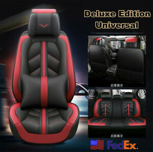 Pu Leather Sponge Fabric Black And Red Front rear Seat Covers Protectors Usa
