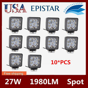 10x 27w 4 Led Work Light Lamp Truck Offroad Tractor Spot Lights 12v 24v Square