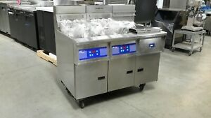 Used Pitco 2 Bank Fryer With Dump Station And Filtration System Natural Gas