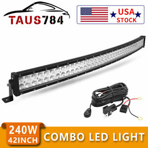 Curved 42inch Led Work Light Bar Spot Flood Combo Driving Lamp Offroad Harness