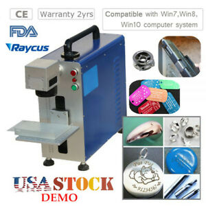 Usa 30w Fiber Laser Engraver Marking Machine With Rotary Axis Fda Certified Demo