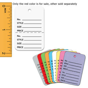 Red Colored Perforated Small Tags 1 25 W X 1 875 H Box Of 1000 Tags