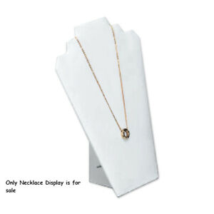 Leatherette Necklace Display In White 8 25 W X 12 50 H Inches
