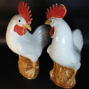 Antique Chinese Export Porcelain Birds Roosters Pair White Glaze Qing Republic