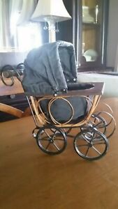 Vtg Baby Doll Stroller Buggy Carriage Wood Wicker Metal