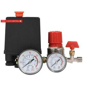 95 125 Psi Air Compressor Pressure Switch Control Valve Regulator With Gauges