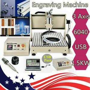 6040 1500w 3 Axis Usb Cnc Router Engraving Drilling Milling Machine Woodwork