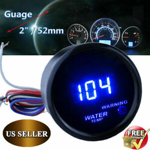 Digital 52mm 2 Led Auto Car Water Temp Gauge Temperature Meter With Sensor Led