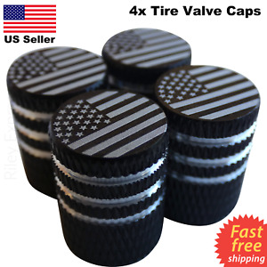 4x Wheel Tire Valve Cap Stem Cover For Bike Car Trucks American Flag Black