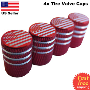 4x Wheel Tire Valve Cap Stem Cover For Car Bike Trucks American Flag Red