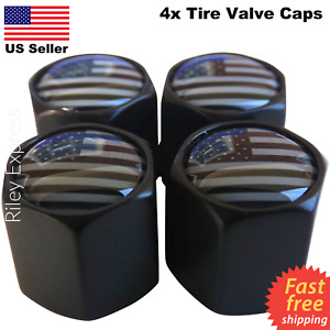 4x Wheel Tire Valve Cap Stem Cover For Car Bike Trucks Subdued American Flag