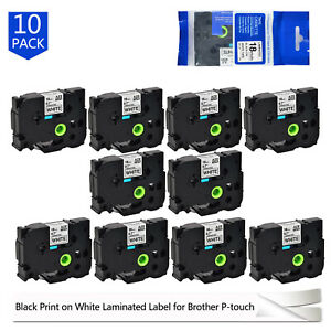 10pcs Tze 241 Tz241 Black On White Tape 18mm For Brother P touch Label Maker