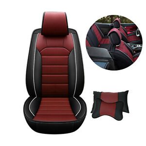 Universal Leather Car Seat Cover 5 Seat Front Rear Full Set Waterproof W Pillow