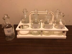 Qty Of 8 Wheaton 300ml Glass Laboratory Bottles Glass Stoppers Caddy Carrier