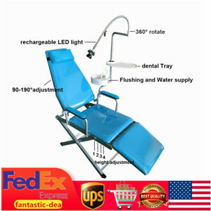 Dental Portable Mobile Chair With Led Cold Light Folding Unit Chair Headrest Usa