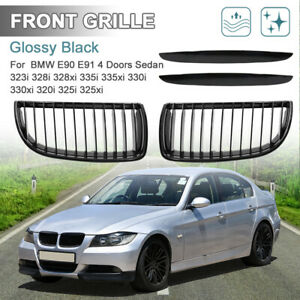Glossy Black Front Bumper Kidney Grill Grille For 2007 2008 Bmw E90 328xi 325i
