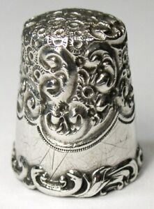 Antique Simons Bros Sterling Silver Embroidery Thimble Louis Xv Rim C1890s