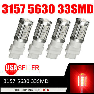 4 X Red 3157 3156 5730 5630 6000k 33smd Led Interior Brake Light Bulbs 12v