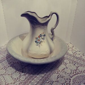 Antique Vintage Pitcher And Wash Basin Off White Greyish Green With Flowers