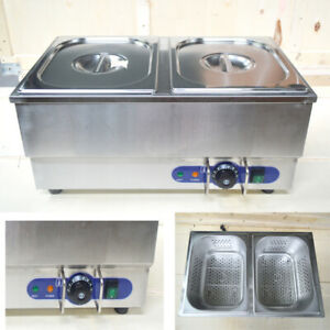 2 Pan Commercial Hot Dog Steamer Bun Warmer 1500w Restaurant Kitchen Equipment