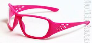 Erb Rose Pink Clear Lens Safety Glasses Rhinestones Womens Z87
