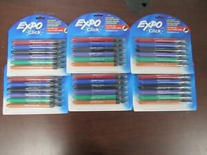 Expo Click Low Odor Retractable Dry Erase Fine Tip Markers 6pk Lot Of 6 8d