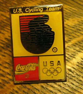 Coca Cola Olympics USA Cycling Lapel Pin - Vintage Coke Soda Pop Olympic Games
