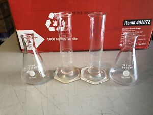 Lot Of 2 Pyrex 125 Ml Beakers 2 Exax 50 Ml Glass Graduated Cylinders Chemistry