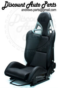 Porsche 997 Style Gt3 Reclining Buckets In Black Leather W Carbon Fiber Backing