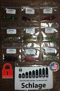 Schlage Re key Kit Contains 20 Pins Each Size 180 Bottom Pins Total