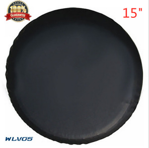 15 Inch Trailer Spare Tire Tyre Wheel Cover Pure Black Heavy Duty Vinyl Material