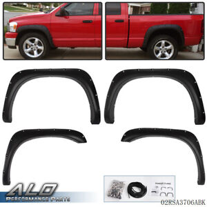 4pcs Fender Flares For 02 08 Dodge Ram 1500 2500 3500 Bolt On Pocket Rivet Style