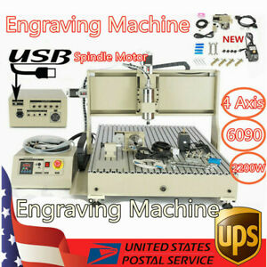 Usb 4 Axis Engraving Machine 6090t Carving Machine Router 2200w Spindle Motor