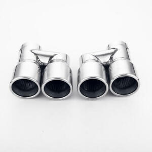 Quad 3 Staggered Offset Exhaust Tip 2 5 In Resonated Twin Round Rolled Angled