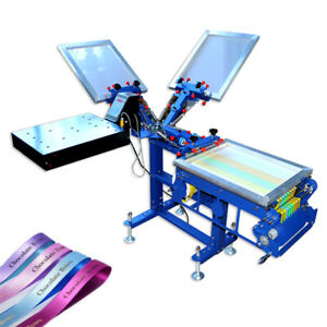 Micro registration 3 Color Ribbon Printing Equipment Screen Press With Dryer