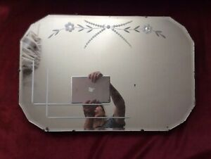 Vintage 1930s Art Deco Frameless Bevelled Wall Mirror