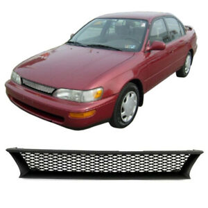 Grille Fit For Toyota Corolla Dx 1993 1997 Abs Black Mesh Front Bumper Hood Gril