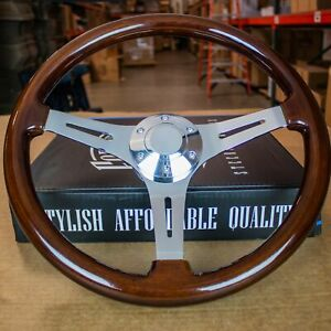 15 Chrome Steering Wheel With Dark Wood Mahogany Grip 6 Hole Classic
