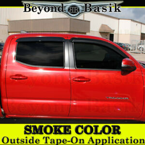 For 2016 2019 Toyota Tacoma 4dr Double Cab 4pc Smoke Door Vent Visors Rain Guard