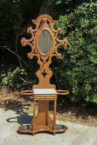Walnut Victorian Renaissance Revival Period Marble Top Hall Tree Stand Ca 1870