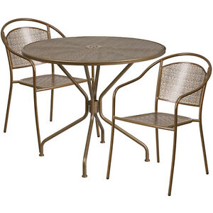 35 25 Round Gold Indoor outdoor Restaurant Table Set With 2 Round Back Chairs