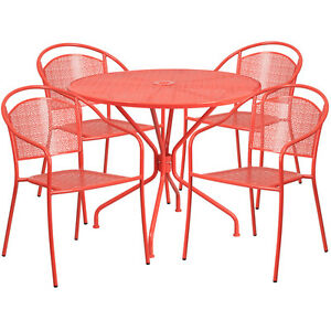 35 25 Round Coral Indoor outdoor Patio Restaurant Table Set With 4 Metal Chair