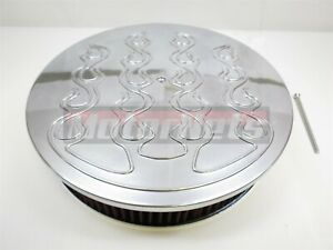 14 X3 Raised Flames Aluminum Air Cleaner Edelbrock Holley Chevy Sbc Bbc 350 454