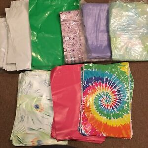 Lot Of 200 Designer Poly Mailers 4 Patterns 4 Solids 12 X 15 10 X 13