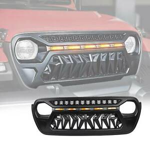 Front Bumper Grille Grill For 2018 2019 Jeep Wrangler Jl With Led Amber Light
