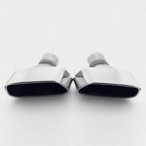 2 5 In Trapezoid Square Cayenne Style Exhaust Tip Angle Cut Rolled End Polished