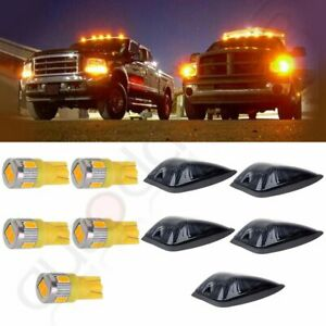 5pcs Smoke Cab Roof Marker Cover base t10 Warm White Led For 1988 2000 Gmc chevy