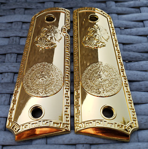 Colt 1911 Custom Grips Gold plated 1911 full size grips Aztec Eagle gloss gold $45.00